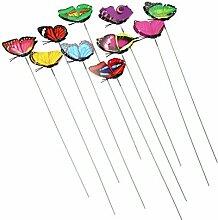 nabati 10 Stück Schmetterling Blumenstecker Gartendeko
