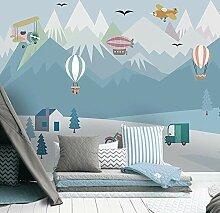 Nach 3D Wandbild Tapete Blau Nette Cartoon Ballon