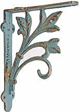 Nach lf-10483Leaf Design Regal Halterung aus Gusseisen auf Holz Sockel, rustikaler Stil (2Stück) 20,3x 5,1x 17cm