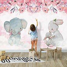 Nach Wandbild Tapete 3D Rosa Blumen Elephant