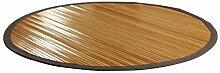 Nachhaltiger Bambusteppich mit Bordüre breit, rund 120 cm NATURAL I Naturfaser Teppich Vorleger Küchenteppich Wohnzimmerteppich I Hochwertiger Bambusteppich von DE-COmmerce