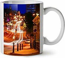 Nacht Leben Foto Stadt Auto Straße Licht WeißTee KaffeKeramik Becher 11 | Wellcoda