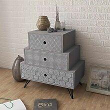 Nachtkonsole mit 3 Schubladen Grau VD09154 - Hommoo