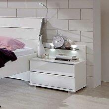 Nachtkonsole mit Wandpaneel Weiß (2-teilig)
