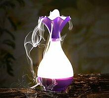 Nachtlampe jade net flasche stumm luftbefeuchter USB lade vase aromatherapie ultraschall vibration energieeinsparung ( Color : Purple )