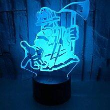 Nachtlicht 3D Feuerwehr Lampe 7 Farben Wechsel LED