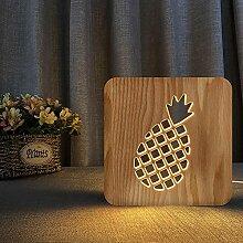 Nachtlicht 3D Holz Nachtlicht Pflanze Ananas