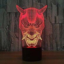 Nachtlicht 3D Tischlampe Halloween Maske 3D Lampe