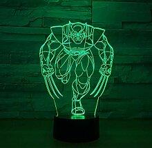 Nachtlicht 3D Tischlampe Wolverine 3D Lampe 7