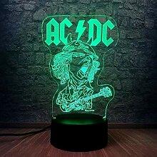 Nachtlicht ACDC Band Rocker Mitglied 3D USB Led
