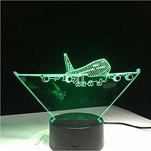 Nachtlicht Flying Big Wings Flugzeug A380 3D Lampe