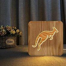 Nachtlicht Led Tischlampe Holz Känguru