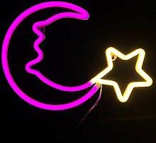 Nachtlichter für Kinder, Neonschilder, rosa Mond,