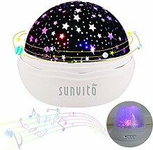 Nachtlichter, Sunvito ROSE Sternenhimmel Projektor Lampe Aufladbar mit 360°Drehen, 12 eingebaute Musik,8 verschiedene Farben des Lichts,USB-Aufladung Kind Spielzeug Leuchten für Geburtstagsgeschenk,Weihnachtsgeschenk,Kinderzimmer,schlafzimmer (Weiße Rose)