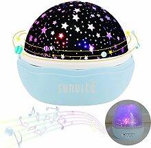 Nachtlichter, Sunvito ROSE Sternenhimmel Projektor Lampe Aufladbar mit 360°Drehen, 12 eingebaute Musik,8 verschiedene Farben des Lichts,USB-Aufladung Kind Spielzeug Leuchten für Geburtstagsgeschenk,Weihnachtsgeschenk,Kinderzimmer,schlafzimmer