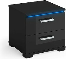 Nachtschrank PICOT schwarz HGL LED Nachttisch