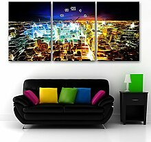 Nachtsicht Wanduhr Rahmenlos Dekoration Stadt Neon Nachtsicht Leinwand gemalt Wanduhr , 60 high *40 wide cm