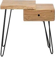 Nachttisch aus Akazie Massivholz und Metall