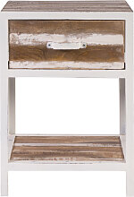 Nachttisch Holz und Metall Weiß ROCHELLE