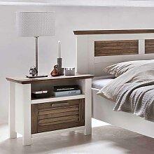 Nachttisch in Weiß Braun 60 cm breit