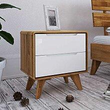 Nachttisch Kommode in Weiß und Wildeiche 30 cm