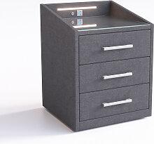 Nachttisch Miako 47x61 cm Microvelour Anthrazit