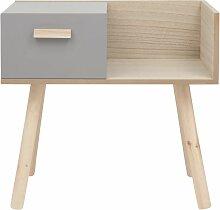 Nachttisch mit 1 Schublade, grau und naturfarben
