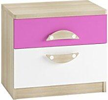 Nachttisch mit 2 Schubladen Tenus II, Nachtkommode, Nachtschrank, Nachtkonsole, Beistelltisch, Schlafzimmerkommode, Kinderzimmer (Eiche Sonoma / Weiß + Krokus)
