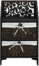 Nachttisch Nachtkonsole Holzkommode 2 Weidenkörbe ausgekleidet dekoriert Ober boden braun Farbe Elegant Chic Barock Stil (Code RE4300)