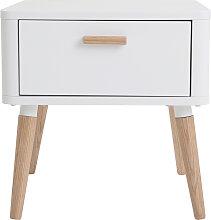 Nachttisch skandinavisch Weiß und Holz TOTEM