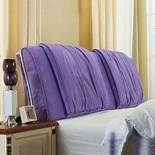 Nachttisch weiche Taschenkissen Bett Große Rückenlehne Lange Kissen Bettdecke Lesekissen ( Farbe : Lila , größe : 200*58cm )
