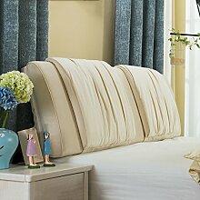 Nachttisch weiche Taschenkissen Bett Große Rückenlehne Lange Kissen Bettdecke Lesekissen ( Farbe : Beige , größe : 200*58cm )