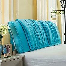 Nachttisch weiche Taschenkissen Bett Große Rückenlehne Lange Kissen Bettdecke Lesekissen ( Farbe : Blau , größe : 120*58cm )
