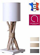 Nachttischlampe aus Treibholz, cremefarben