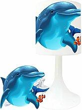 Nachttischlampe für Kinderzimmer, Motiv Delphin