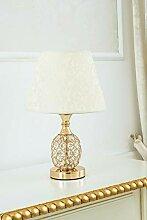 Nachttischlampe Jacob gold mit Kristallen