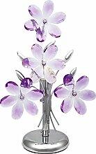 Nachttischleuchte mit Acryl Blüten in lila