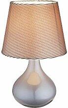 Nachttischleuchte mit Stoff Lampen Schirm in grau