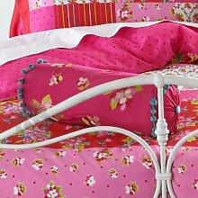 Nackenrolle floral bestickt–100% Baumwolle Sofa Gepolstertes Bett Nackenrolle Elternteil 15cm x 50cm, Red ( Magenta Pink Green Blue ), 15 cm x 50 cm