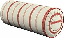 Nackenrolle mit Falten, creme- rot, Ø 20 × 50