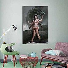 Nackte Frau Nordic Bild sitzt auf dem Drachen