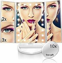 NaCot Schminkspiegel mit 21 LED Beleuchtet Trifold Makeup Spiegel Kosmetikspiegel 1x 2x 3x 10X Vergrößerung Touchscreen Batterie und USB Netzteil 180 Grad Drehung für Home Beauty
