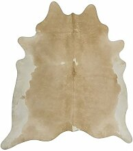 NaDeco® Kuhfell beige weiß 3-4m²| beige weißes Stierfell | Kuhfellteppich | Fellteppich | Rinderfell | Kuhfellteppich | Stierfellteppich