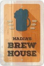 "Nadia 's Brew House–hausgebrautem Bier Bar Pub Club Kunststoff Schild, plastik, 8"""" x 12"""" (20.3cm x 30.5cm)"