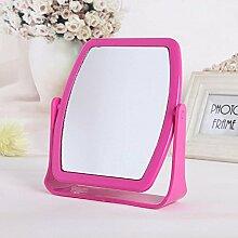 NAERFB Einfache High - Bitte Doppelseitige Kosmetikspiegel Schreibtisch Kosmetikspiegel Schlafsaal Desktop Drehspiegel (Farbe: Rose Red)