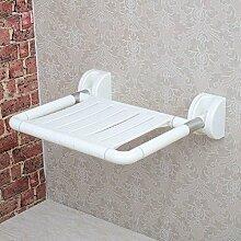 NAERFB Handlauf Safe Badezimmer Klapphocker Alten Wohnung Edelstahlbad Stuhl Klappstuhl Wand Hocker, Weiß