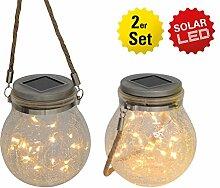 Näve Leuchten 2-er Set LED Solar-Dekoglas mit