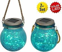 Näve Leuchten 2-Er Set LED Solar-Dekoglas mit Kordel, Glas, 1 W, Silber, 12 x 12 x 14.5 cm, 2 Einheiten