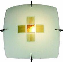 Naeve Leuchten Glas-Deckenleuchte, Glas, 60 W, E27, 30 x 30 x 9 cm, Braun 198814