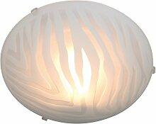 Naeve Leuchten Glas-Deckenleuchte, Metall, 60 W, E27, 30 x 30 x 9 cm, weiß 1019323